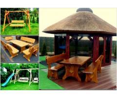 Meble ogrodowe, drewniane, barowe, huśtawki, stół, ławka, krzesła